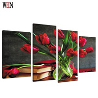 HD Printed Framed 4PC Flower Canvas Art Wall Pictures For Living Room Large Modern Poster Directly