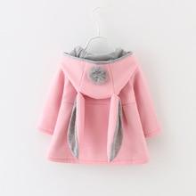 Winter Girls Coat Autumn Rabbit Ear Hooded Warm Cute Kids Jacket Outerwear Children Clothing Baby Tops Girl Coats