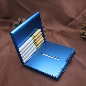 Image 1 - Двойной алюминиевый чехол для сигарет, футляр для сигар, металлический Карманный контейнер для хранения, аксессуары для сигарет