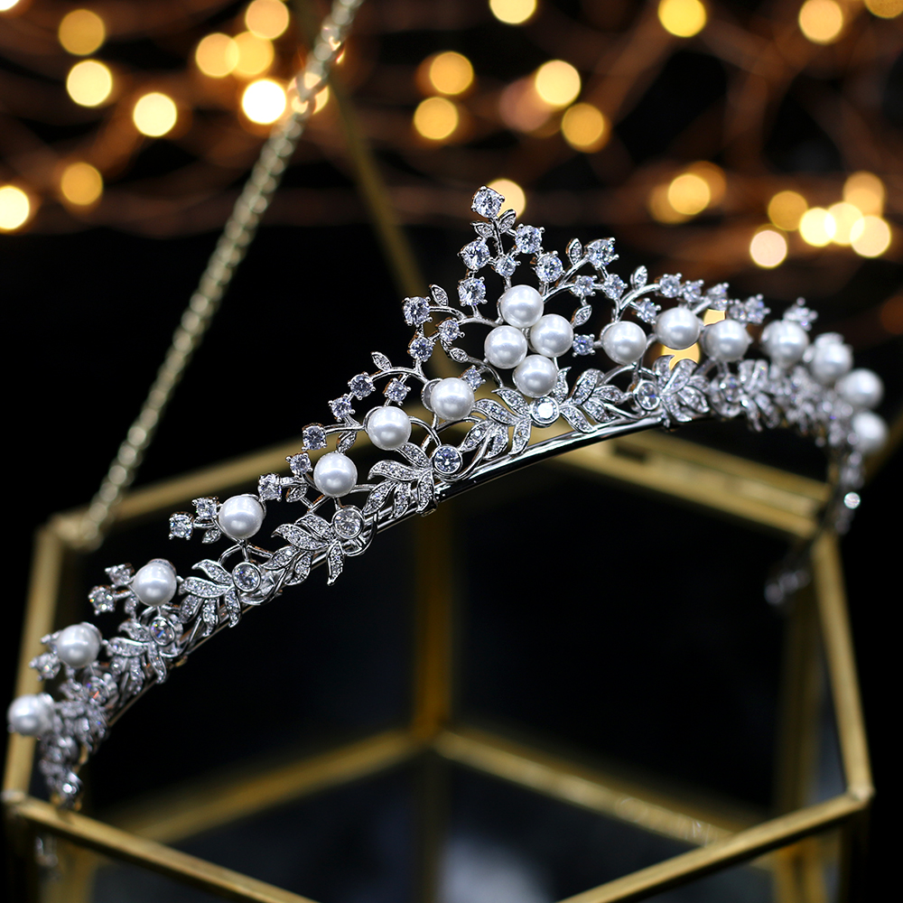 Royal Princess Silver Wedding Tiaras Crowns Freshwater Pearls Brides Hairbands Zircon Crystal Wedding Hair Accessories Gifts