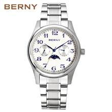 Berny mężczyźni zegarek kwarcowy moda Top luksusowa marka Relogio Saat Montre Horloge Masculino Erkek Hombre japonia ruch 2191M