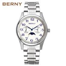 Мужские кварцевые часы Berny, модные топовые Роскошные Брендовые Часы, Relogio Saat Montre Horloge Masculino Erkek Hombre, японский механизм, 2191 м