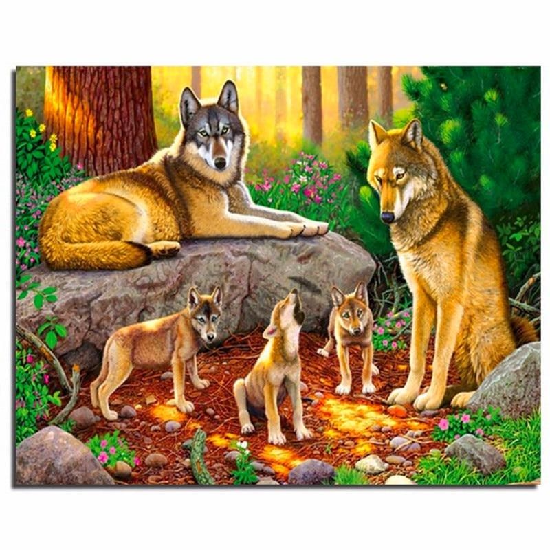 3D Diamond Embroidery Wolf Family Needlework Full Drill Square Diy Diamond Painting Cross Stitch Paintings