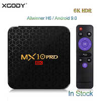 XGODY 6K Smart Android 9.0 TV Box MX10PRO 4GB 32GB/64GB Allwinner H6 Quad Core WiFi USB 3.0 HDMI 2.0 HDR TV Receiver Set top Box