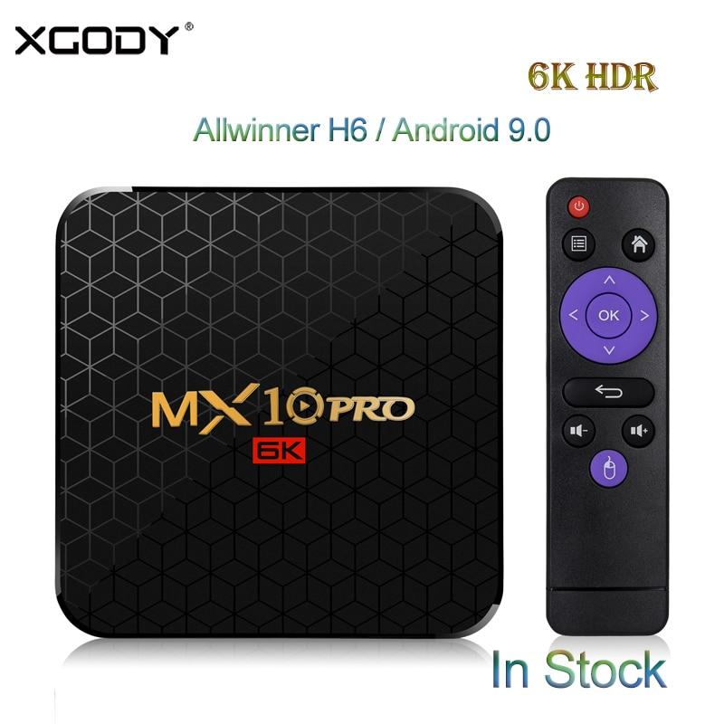 XGODY 6K Smart Android 9.0 TV Box MX10PRO 4GB 32 GB/64 GB Allwinner H6 Quad Core WiFi USB 3.0 HDMI 2.0 HDR TV récepteur décodeur