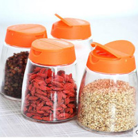 4pcs Include Glass Spice Jar With Lid Top Quality Multifunction Lid Sets for Spices Glass Bottle with Tap Mason Jar Glass