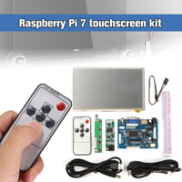 1Set Raspberry Pi 7 inch Raspberry Pi LCD Touch Screen Display HDMI HD 1024x600 Touch LCD Driver Board with USB Cable Line