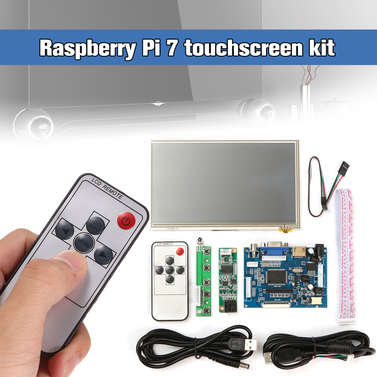 1Set Raspberry Pi <font><b>7</b></font> <font><b>inch</b></font> Raspberry Pi <font><b>LCD</b></font> Touch Screen Display HDMI HD 1024x600 Touch <font><b>LCD</b></font> Driver Board with USB Cable Line image