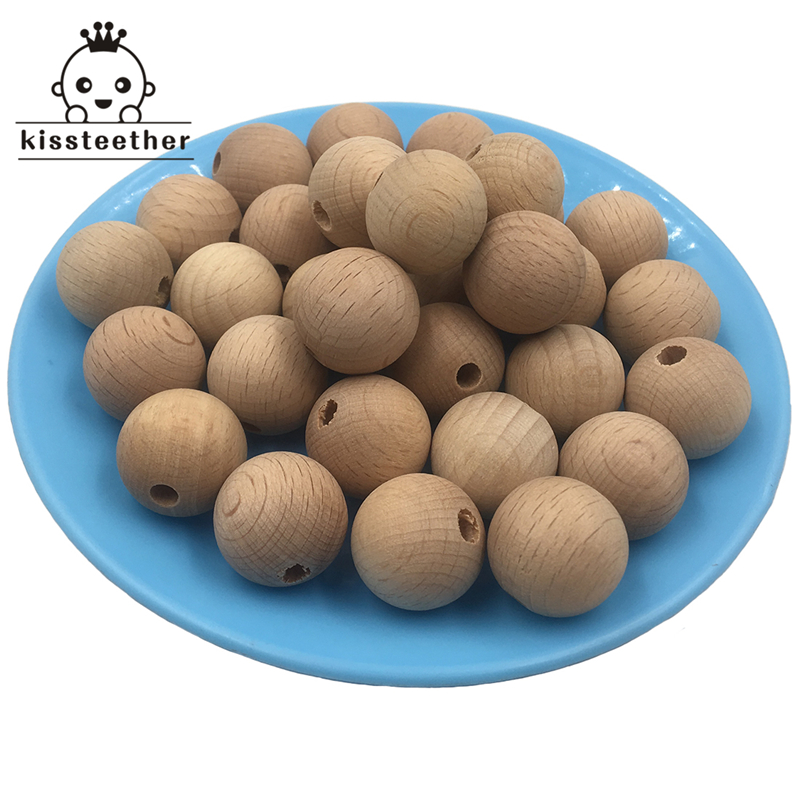 100PC Wooden Teether Chewable 10-20mm Round Beads Ecofriendly Unfinished Beech Beads DIY Craft Jewelry Accessories