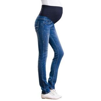 2276e46f3 Pantalones vaqueros de maternidad de mezclilla talla grande pantalones  largos de cintura elástica para mujeres embarazadas ropa de embarazo ropa  embarazada ...