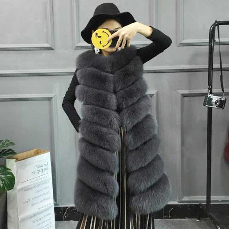 Ethel Anderson/женский жилет из натурального меха лисы, 100%, пальто, 90 см, Длинный жилет, женская теплая Модная куртка из натурального меха