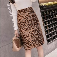 2019 Ladies New Fashion Women's Leopard Pencil Skirt High Waist Faux Suede Knee Length Skirt Ladies Sexy Club Skirts Faldas Jupe