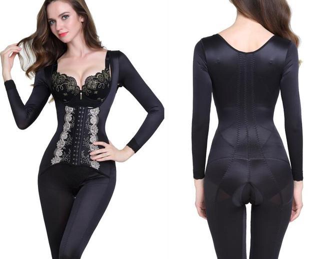 98327790b2 Lace Full Body Corset Black Women Slim Shaperwear Slimming Bodysuit corset  minceur Hot Shapers S M L XL