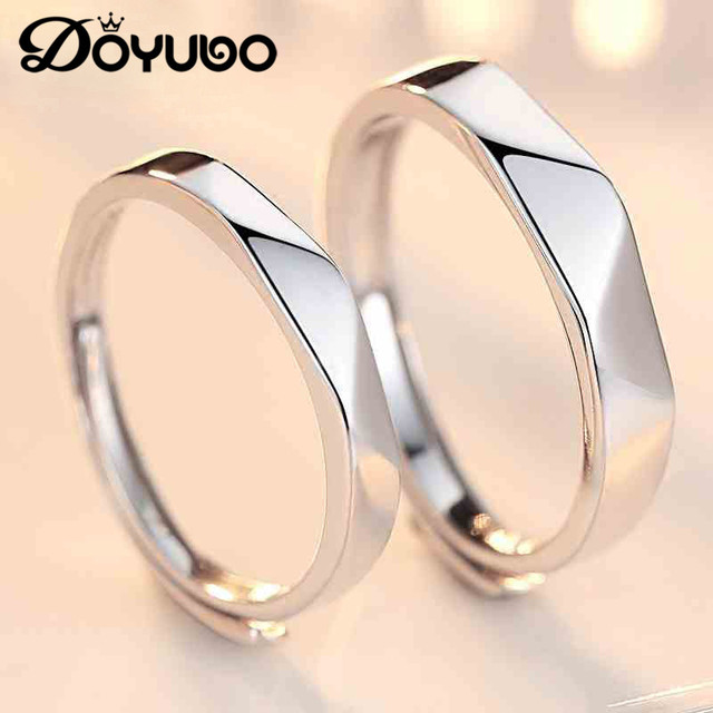 LIAMTING Authentic Lovers' 925 Sterling Silver Rings Simple Design Adjustable Size Fashion Silver Couples Rings Jewelry VB222