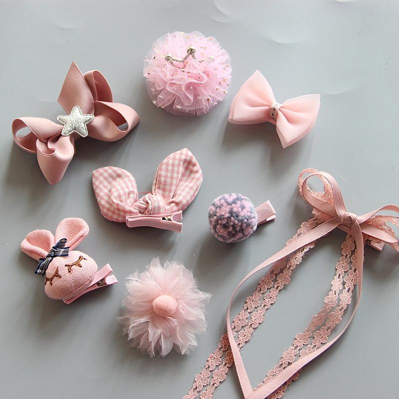 Pink Princess Ribbon Bows Clips Tiara Girls Crown Hair Clip Children Accessories Cute Kids DIY Hairpin  J32