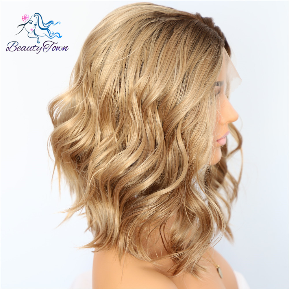 Image 3 - BeautyTown Dark Root Ombre Brown Short Heat Resistant Hair Blogger Daily Makeup Glueless Synthetic Lace Front Wedding Party Wigs-in Synthetic Lace Wigs from Hair Extensions & Wigs
