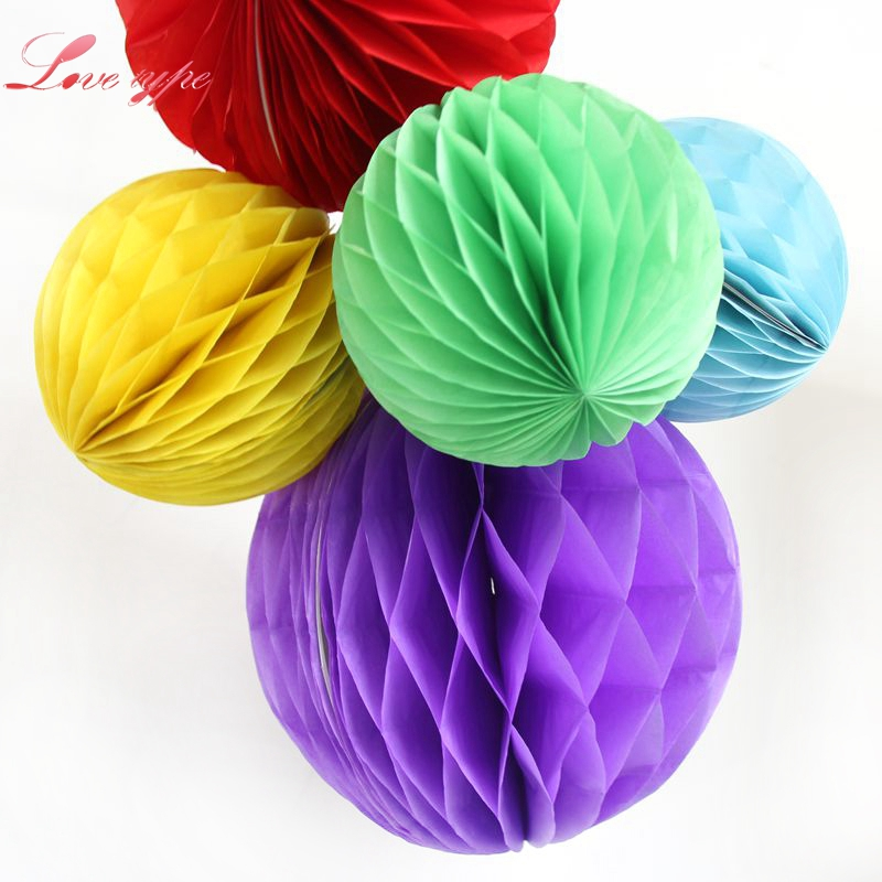 1PC 4(10cm) Colorful Tissue Paper Honeycomb Ball Pastel Bags For Home Garden Party Wedding Decoration / Event Party Supplies