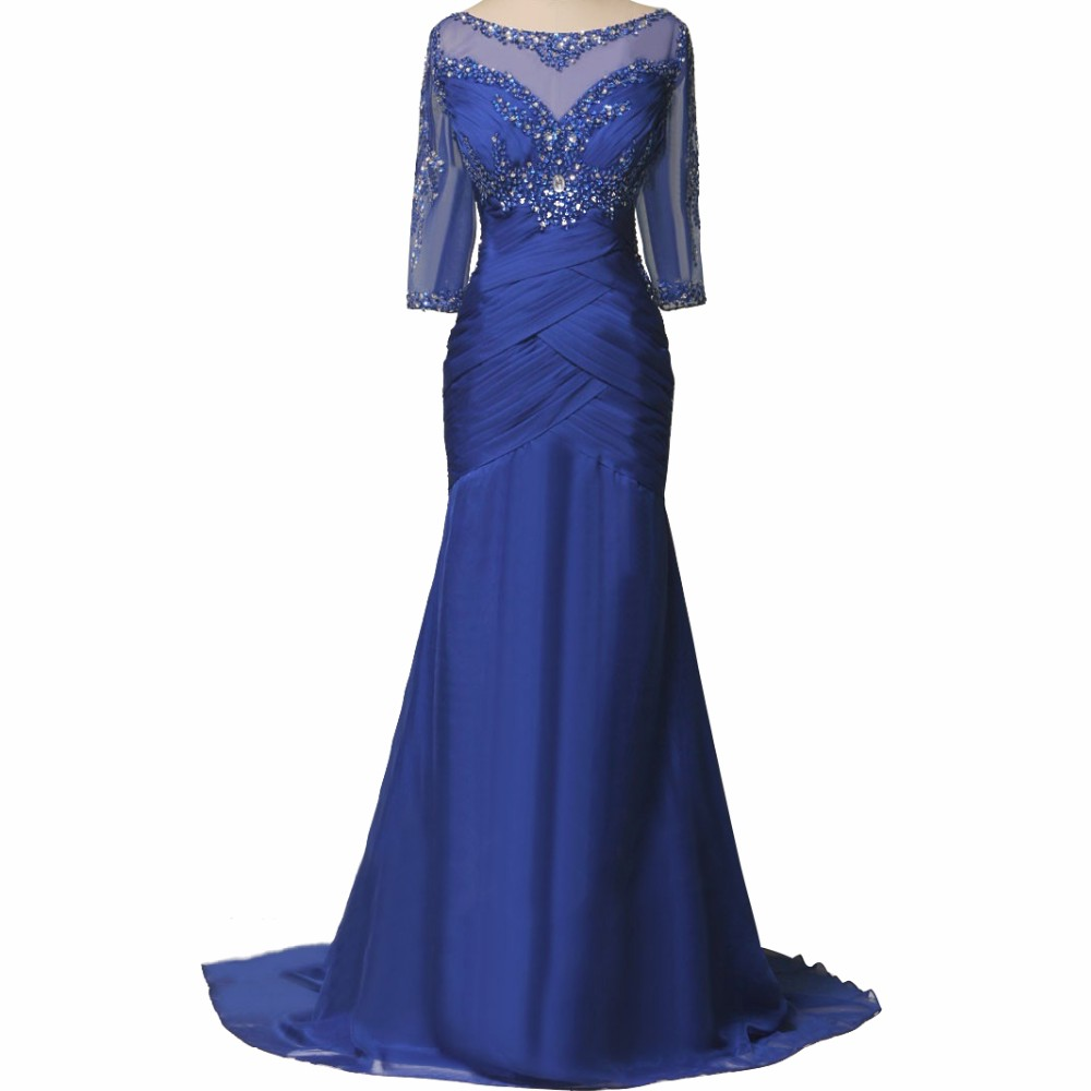 Royal Blue Mother of Bride Dress for Wedding 2019 3/4 Sleeves Beaded Plus Size Mermaid Mother Wedding Formal Gowns