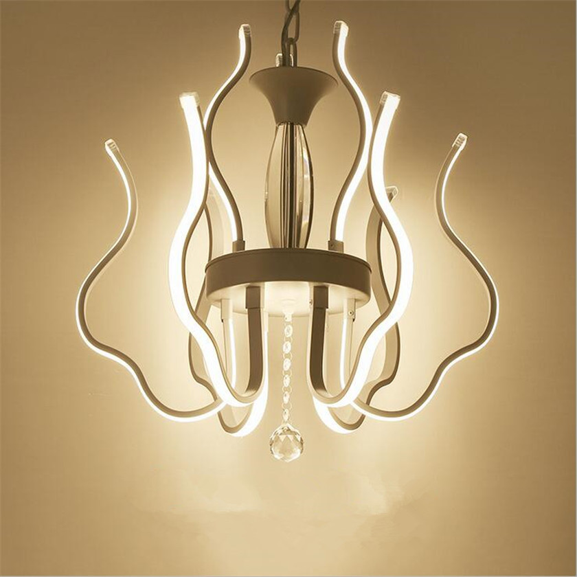 Contemporary Chandelier White Aluminum Hanging Lamp Creative Led Lustres For Bedroom Lighting Fixtures Indoor Home Luster Abajur
