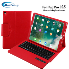 Mollsing  Wireless Bluetooth Keyboard +PU Leather Folio Cover  Protective Case For Apple ipad pro10.5 tablet