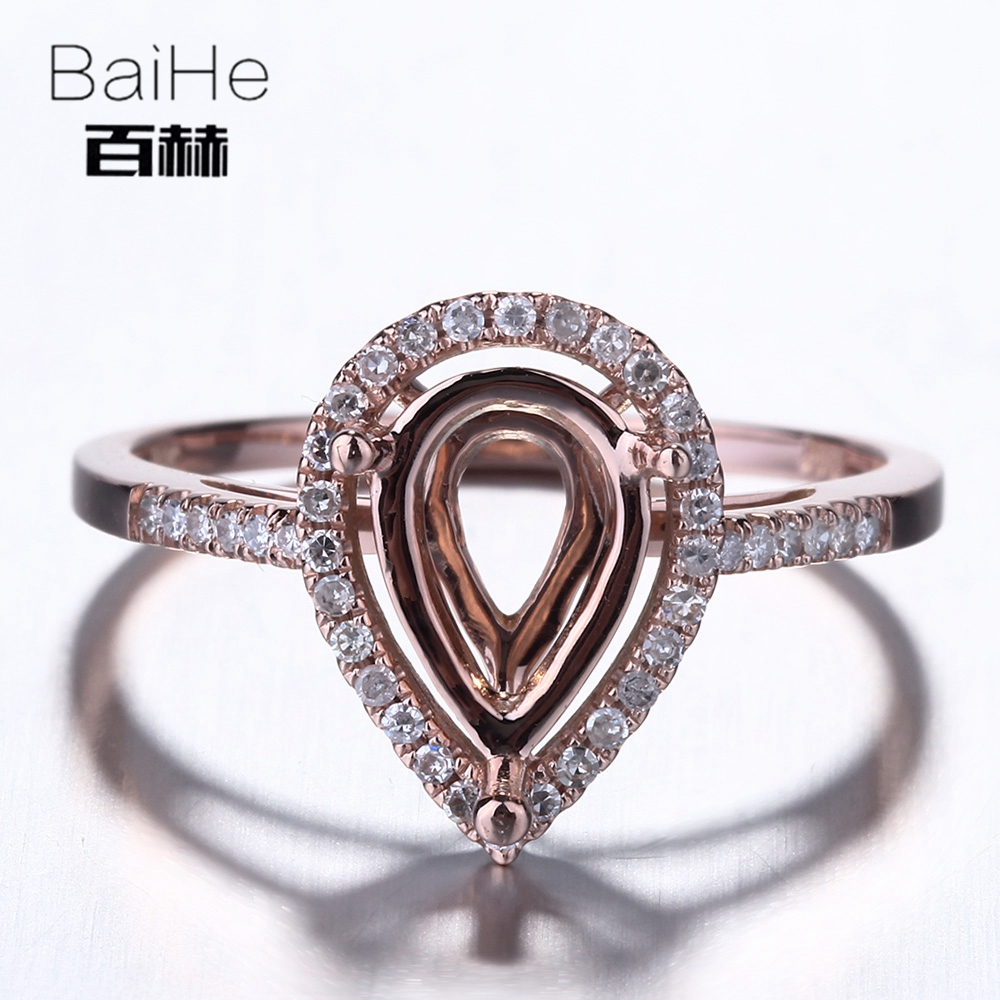BAIHE Solid 10K Rose Gold Certified Pear Cut Engagement Women Cute/Romantic Fine Jewelry Elegant unique Semi Mount Ring         BAIHE Solid 10K Rose Gold Certified Pear Cut Engagement Women Cute/Romantic Fine Jewelry Elegant unique Semi Mount Ring
