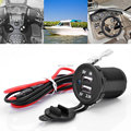 2V Waterproof Power Outlet Cigarette Lighter Socket 2.1A Dual USB Charger Panel Flush Mount For Benelli Aprilia KTM BMW