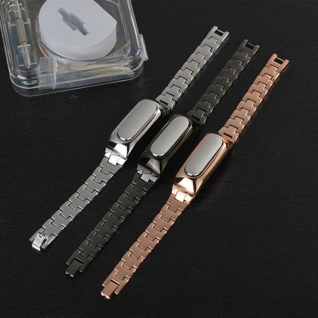 Xiaomi Mi Band 1S Metal Strap For Original Xiaomi Miband 1S 1A Smart Bracelet Wrist Band Silver Black Golden Color for xiomi