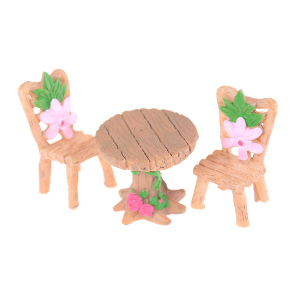 Toys & Hobbies Initiative 3pcs/set Doll House Decor Table And Chair Fairy Garden Miniatures Resin Wood Mini Flower Terrarium Figurines Home Accessories