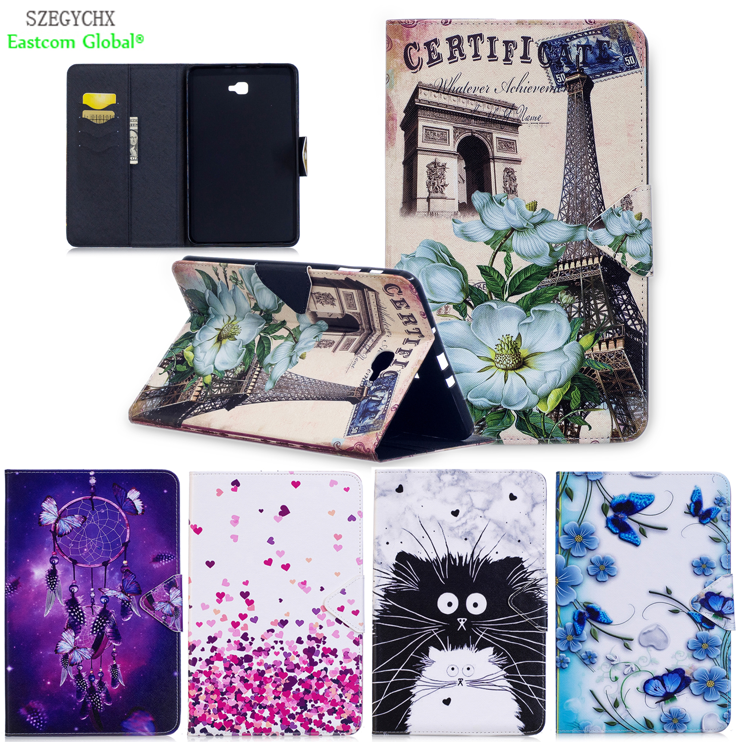 Cover For Samsung Galaxy Tab A 10.1 2016 T580 T585 SM-T585,Cartoon Stand Flip PU Leather Tablet Case For Kids Gift 360 rotary flip open pu case w stand for 10 5 samsung galaxy tab s t805 white