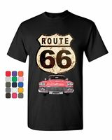 Route 66 Retro Car T Shirt The Mother Road American Classic Mens Tee Shirt Custom Printed Tshirt,Hip Hop Funny Tee2019 Hot Tees
