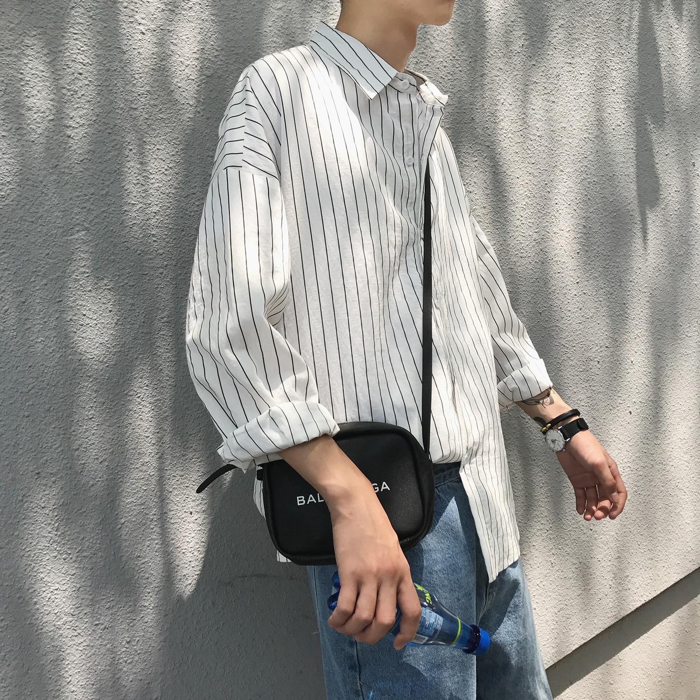 2019 Fashion Korean Style Streetwear Thin Striped Oversize Long Sleeve Men Shirt