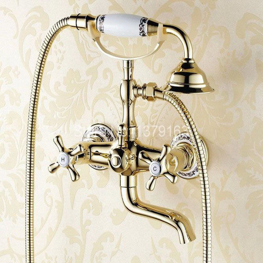 Luxury Gold Color Brass Two Cross Handles Base Clawfoot Bathroom Wall Mounted Handheld Shower Bath Tub Faucet Mixer Tap atf408 vintage retro antique brass wall mounted bathroom handheld shower faucet set bath tub mixer tap crs019