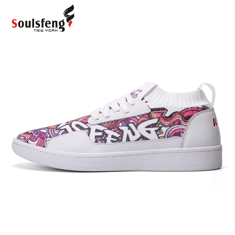 Soulsfeng Graffiti Skater Shoe Kuji Unisex Skating Board Shoes Flynit Lace up Sports Sneakers Breathable walking shoes 170802B