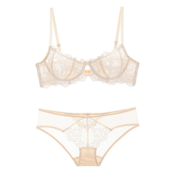 Ultrathin Lingerie set plus size bras A B C D Cup sexy bra set transparent women underwear Embroidery Flowers Lingerie bralette 2