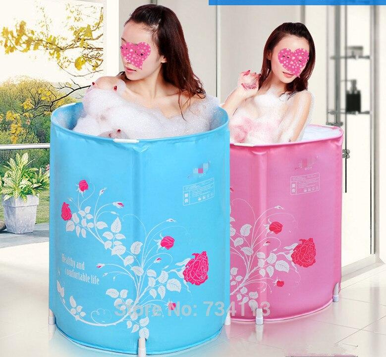 Portable bathroom tub Folding bath tub bath barrel adult free inflatable bathtub bath tub thicker plastic bucket 58*65 CM