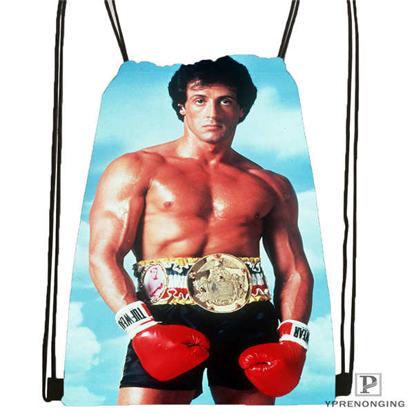 Custom Rocky-Balboa  Drawstring Backpack Bag Cute Daypack Kids Satchel (Black Back) 31x40cm#2018611-218