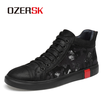 OZERSK Autumn Winter Size 36~46 Fashion Waterproof Leather Boots Fashion Shoes Men Black Boots Rubber Ankle Boots Lace Up Botas