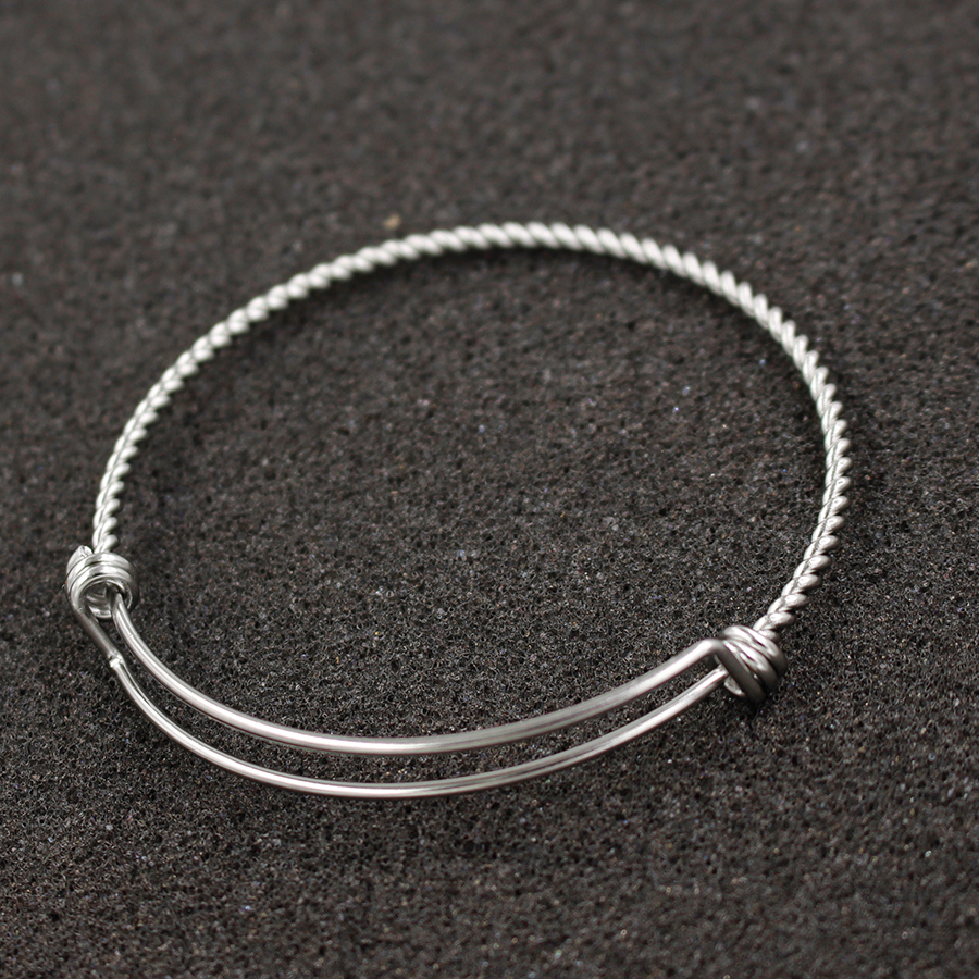 Wire Bangle Charm Bracelet: Fnixtar Stainless Steel Adjustable Twisted Bangles Twist