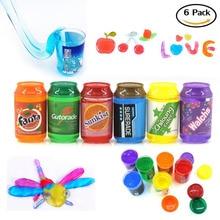 Putty Slime, 6 Pack helle Farben Fluffy Slime Stress Relief Spielzeug für Kinder und Erwachsene