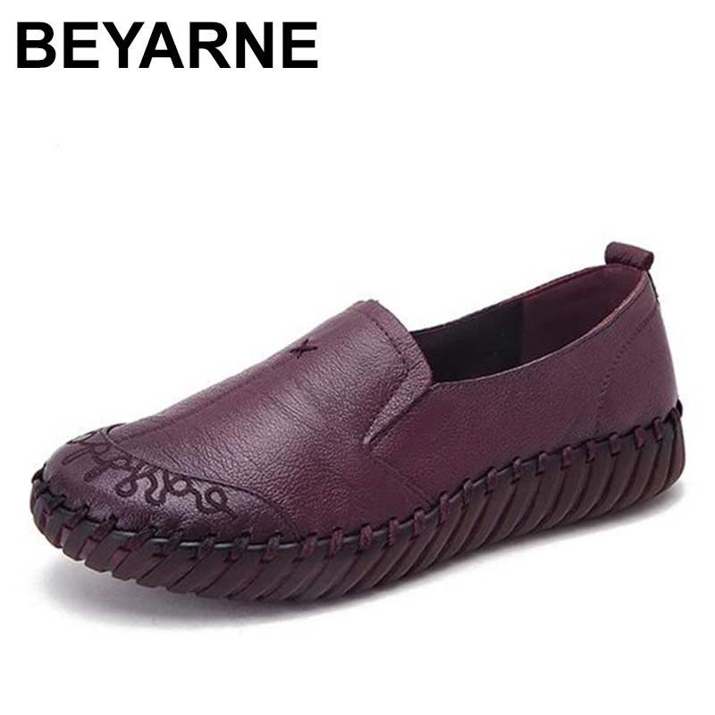 BEYARNE 2018 Autumn Vintage Embroidered Canvas Shoes Woman Casual Women Flats Flower Ballerina Flat Shoes Sapato Feminino vintage women flats chinese fashion beads embroidered casual canvas shoes slip on shoes for woman white shoes
