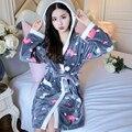 Cartoon Lovely 2018 Thicken Nightgowns Winter Bathrobe Women Pajamas Bath Flannel Warm Robe Sleepwear Womens Robes Coral Velvet