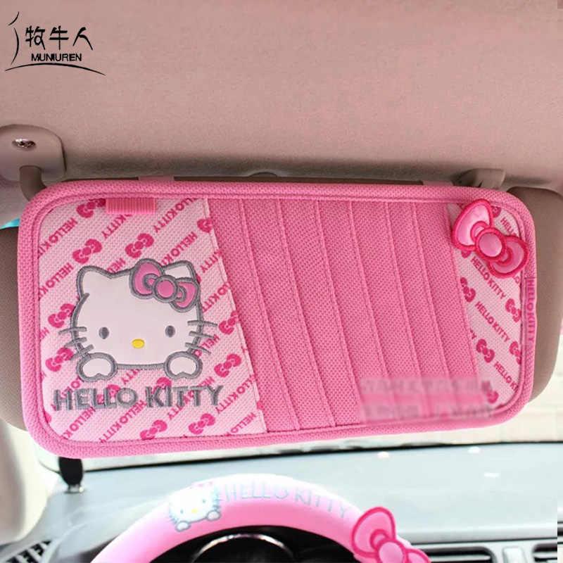 0960a518e ... Cartoon Hello Kitty Car Accessories Interior Decoration Car Gear  Shifter Cover Handbrake Seat Belt Cover Car ...