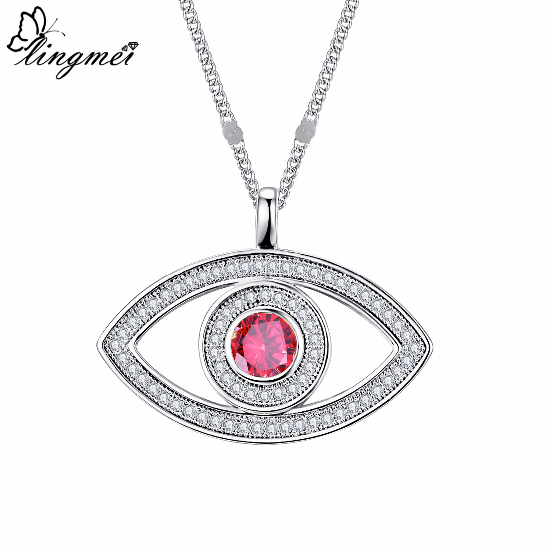 Lingmei Eyes Shaped Gorgeous Wedding Round Cut Red & Purple White Zircon Silver Pendant Necklace With Chain Jewelry Gifts