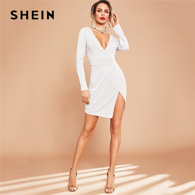 51b6ef7f10 SHEIN White Party Solid Plunge Neck Split Side Long Sleeve Wrap Short Dress  Autumn Sexy Elegant