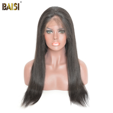BAISI 360 Lace Frontal font b Wigs b font Pre Plucked Straight Human Hair with Natural