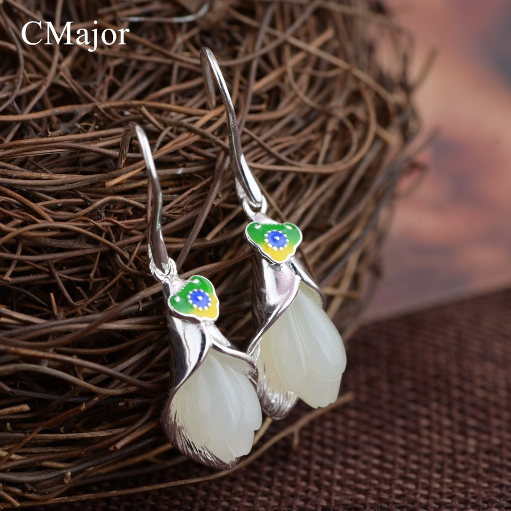 CMajor Original vintage ethnic handmade flower shaped natural stone silver hook earrings blue green color earrings for women CMajor Original vintage ethnic handmade flower shaped natural stone silver hook earrings blue green color earrings for women