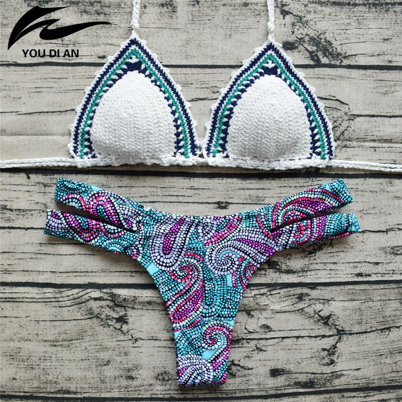 все цены на  Sexy Crochet Bikinis Swimwear Women 2017 New Halter Bikini Set Brazilian Push Up Handmade Swimsuit Bathing Suit Female Biquinis  в интернете