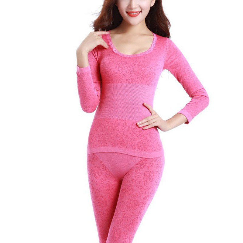 2019 New Fashion Women Tunic Winter Thermal Underwears Seamless Breathable Warm Long Johns Ladies Slim Underwears Sets Bottoming