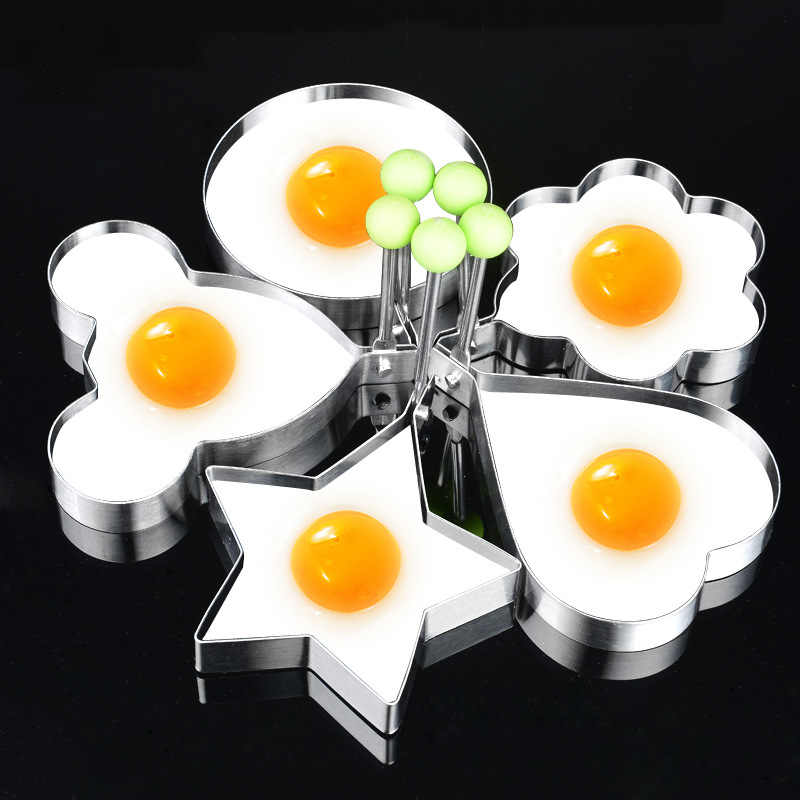 Omelette Fried Egg Frying Mold Kitchen Gadgets Stainless Steel Egg tools  Flower Round Star Molds Kitchen Tools