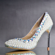 Fashion Highly Recommended Ivory Pearl Wedding Shoes AB Crystal Almond Toe Bridal Shoes Gorgeous Banquet Party Prom Dress Shoes